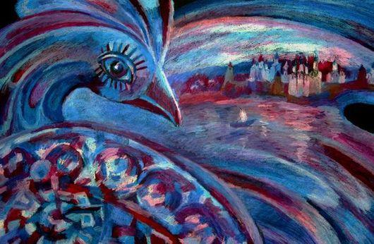"""Фантазийные сюжеты ручной работы. Ярмарка Мастеров - ручная работа. Купить Картина """"Синяя птица.. Путешествие."""". Handmade."""