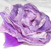 Украшения ручной работы. Ярмарка Мастеров - ручная работа Сиреневая роза из шерсти и органзы. Handmade.