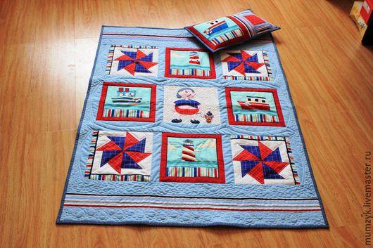 """Пледы и одеяла ручной работы. Ярмарка Мастеров - ручная работа. Купить Детское лоскутное одеяло""""Морячок"""". Handmade. Комбинированный, одеяло в кроватку"""