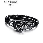 Украшения handmade. Livemaster - original item Bracelet in leather and steel with skull and black zircon unisex. Handmade.