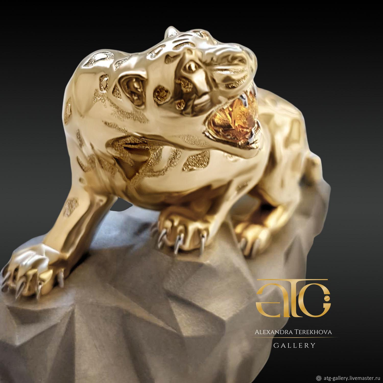 Golden statuette sculpture leopard. 585 sample, Figurine, Moscow,  Фото №1