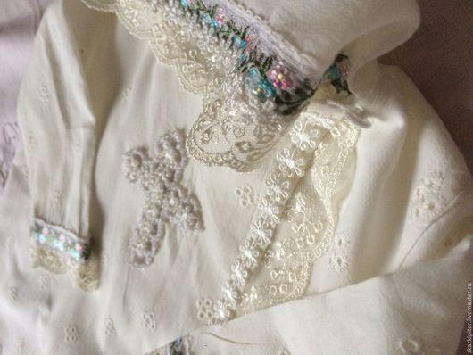 Крестильные принадлежности ручной работы. Ярмарка Мастеров - ручная работа. Купить Крестильная рубашечка. Handmade. Белый, натуральные ткани
