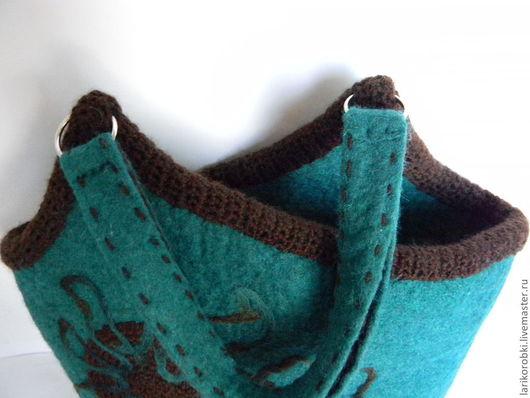 """Женские сумки ручной работы. Ярмарка Мастеров - ручная работа. Купить Войлочная сумка """"Лабиринт"""" валяная изумрудный цвет. Handmade."""