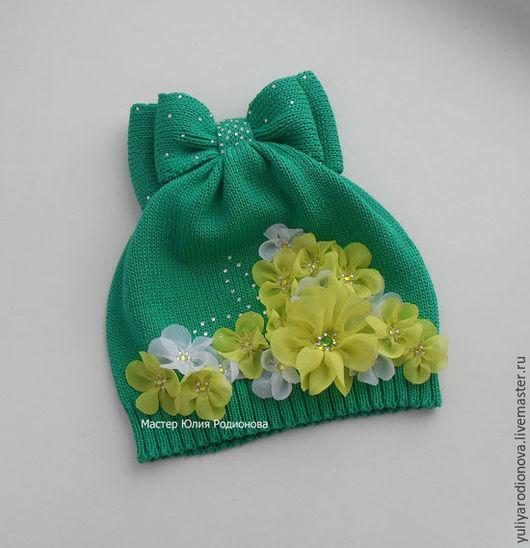 Шапки и шарфы ручной работы. Ярмарка Мастеров - ручная работа. Купить Хлопковая шапочка для девочки. Handmade. Зеленый, однотонный
