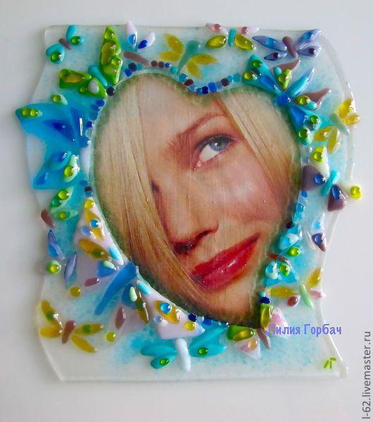Photo Frames handmade. Livemaster - handmade. Buy photo frame glass, fusing angel Heart.Glass, heart, glass