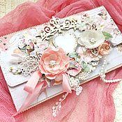 Конверты ручной работы. Ярмарка Мастеров - ручная работа Конверт открытка на свадьбу с карманом для денежного подарка. Handmade.