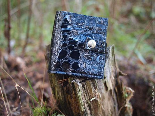 Кошельки и визитницы ручной работы. Ярмарка Мастеров - ручная работа. Купить Mini Чёрный  Лаковый кошелёк из натуральной кожи (lacquer_croc)). Handmade.
