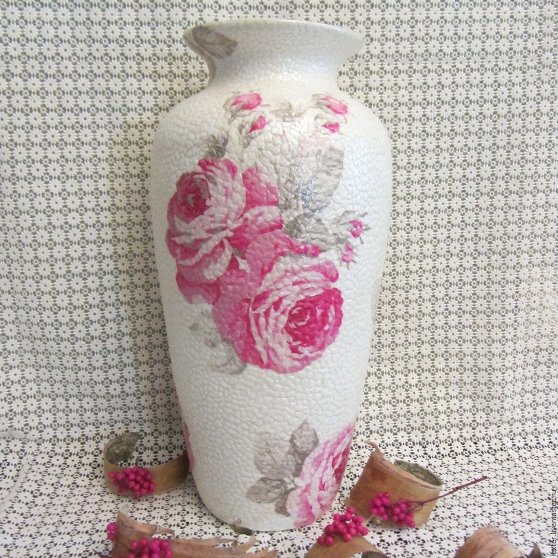 Вазы ручной работы. Стеклянная ваза Розы на перламутровом