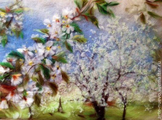"""Пейзаж ручной работы. Ярмарка Мастеров - ручная работа. Купить Зарисовка из шерсти """"Когда цвели сады..."""". Handmade."""