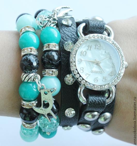 """Часы ручной работы. Ярмарка Мастеров - ручная работа. Купить Часы+браслеты """"Чёрно-бирюзовые"""". Handmade. Морская волна, подарок женщине"""