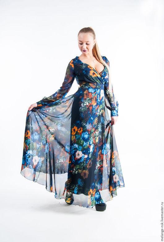 Платья ручной работы. Ярмарка Мастеров - ручная работа. Купить Цветочное шифоновое платье в пол. Handmade. Комбинированный, платье вечернее