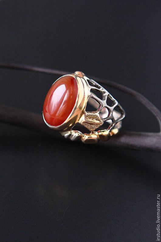 """Кольца ручной работы. Ярмарка Мастеров - ручная работа. Купить """"Nature in red"""" Серебряное кольцо с сердоликом. Handmade."""