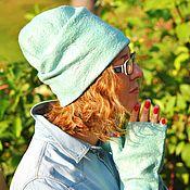 """Аксессуары ручной работы. Ярмарка Мастеров - ручная работа """"Magic mint"""" комплект шапочка и митенки. Handmade."""