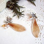 Украшения handmade. Livemaster - original item Earrings with Real petals of a Beige Resin Eco Botanica. Handmade.