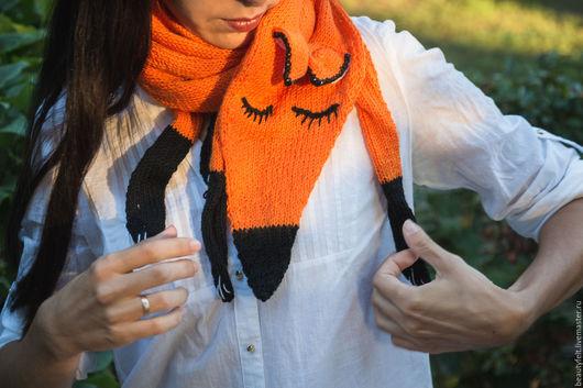 """Шарфы и шарфики ручной работы. Ярмарка Мастеров - ручная работа. Купить Шарф вязаный""""Лисичка"""". Handmade. Шарф, вязаный шарф, рыжий"""