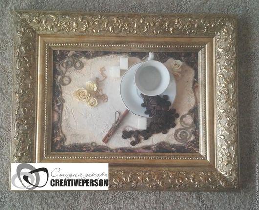 Абстракция ручной работы. Ярмарка Мастеров - ручная работа. Купить Панно Ароматный кофе. Handmade. Золотой, кофейные панно, корица