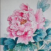 Картины и панно handmade. Livemaster - original item Watercolor painting of red peony flowers. Handmade.