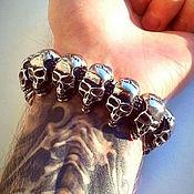 Украшения handmade. Livemaster - original item Men`s bracelet jewelry steel with skulls. Handmade.