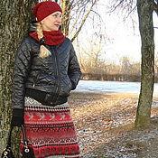 handmade. Livemaster - original item Jacquard skirt Red Grey. Handmade.