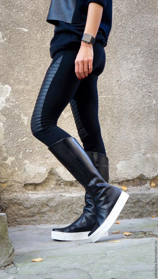 сапоги кожаные черные дизайнерская обувь сапоги на молнии городской стиль