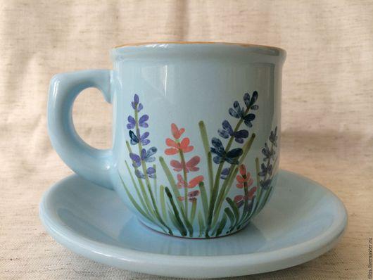 Кружки и чашки ручной работы. Ярмарка Мастеров - ручная работа. Купить керамическая чашка с блюдцем с ручной росписью. Handmade. Разноцветный