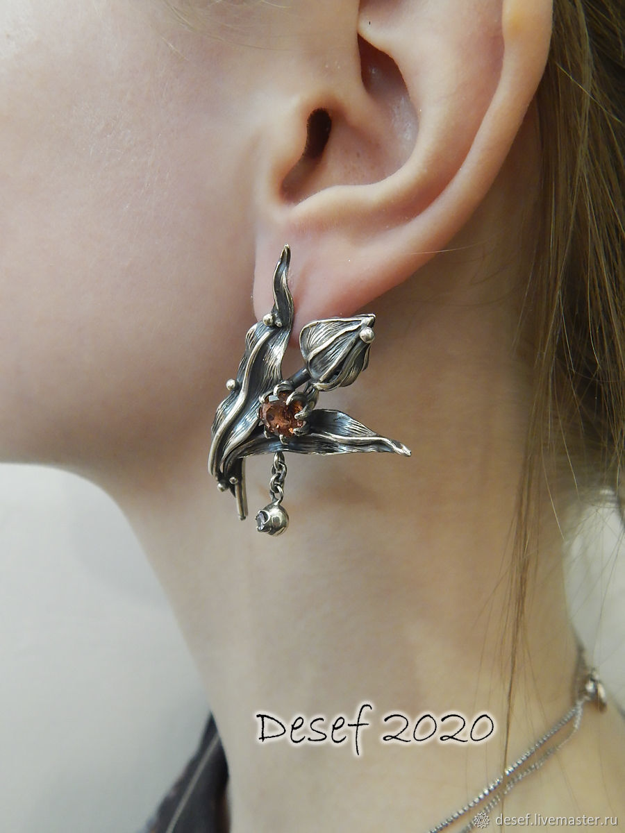 Earrings 'Tulips', Earrings, Kurgan,  Фото №1