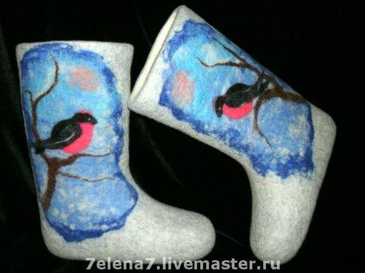 """Обувь ручной работы. Ярмарка Мастеров - ручная работа. Купить Валенки """"Снегири"""". Handmade. Валенки, женские валенки"""