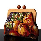 Сумки и аксессуары handmade. Livemaster - original item Handbag with vintage embroidery on wooden clasp. Handmade.