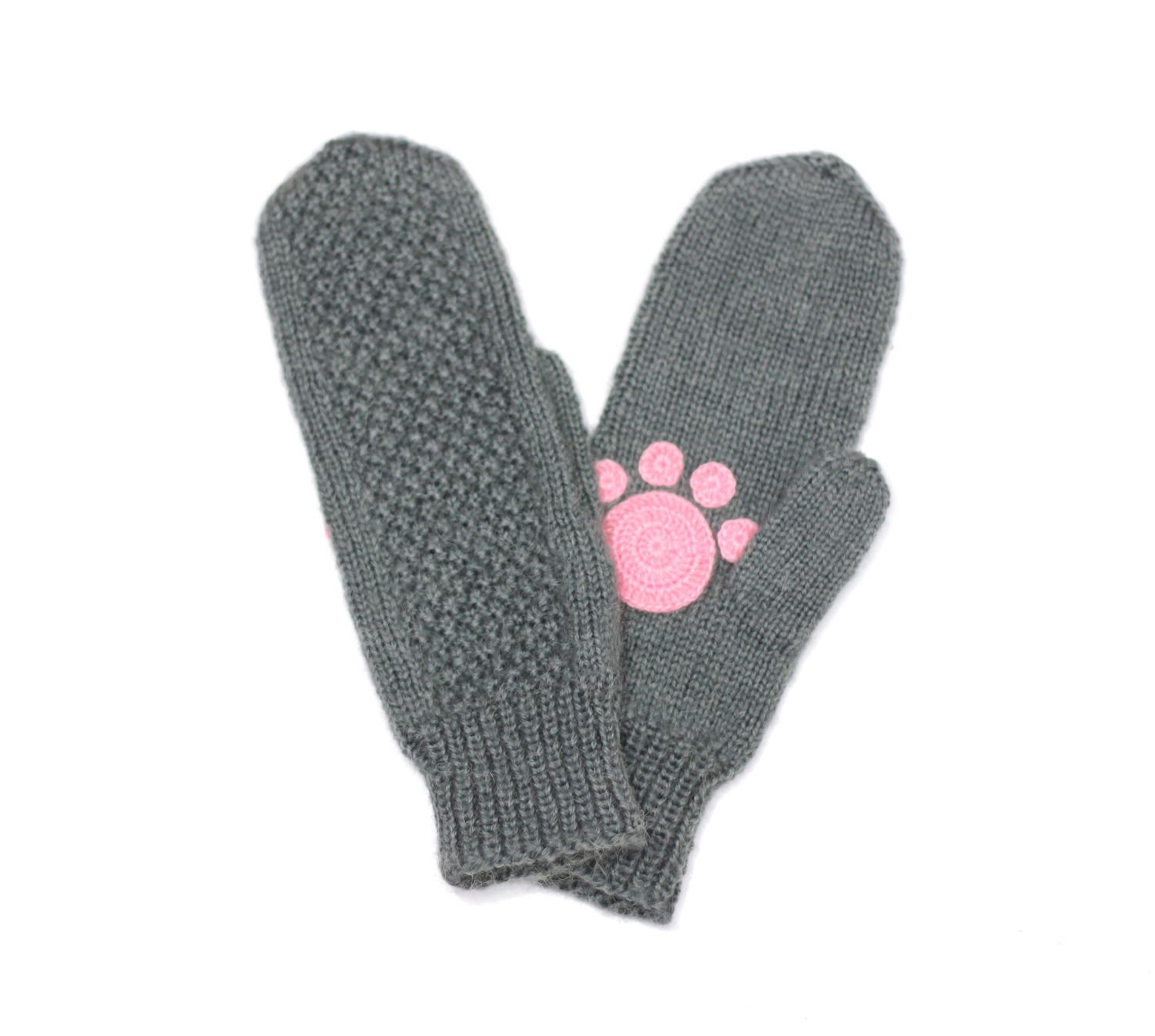 Mittens with paws: gray and furry legs:), Mittens, Orenburg, Фото №1