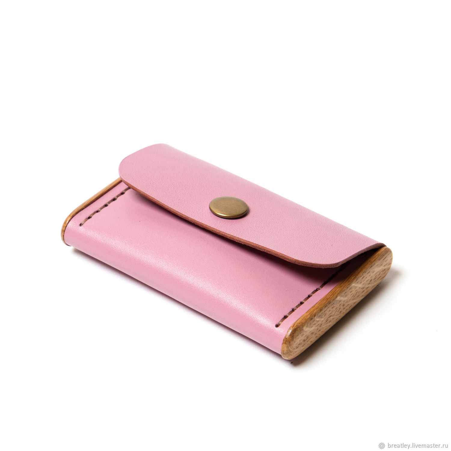Genuine leather and wood business card holder-BREATLEY-women's business card holder, Business card holders, Moscow,  Фото №1