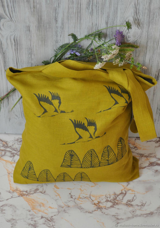 Сумка женская льняная экосумка Журавли над лесом -магазин сумок Москва