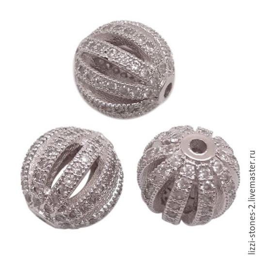 Бусина шар резная серебристая 11 мм (Milano) Евгения (Lizzi-stones-2)