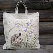 Сумки и аксессуары handmade. Livemaster - original item Linen handbag for shopping with painted Hedgehog in the bells. Handmade.