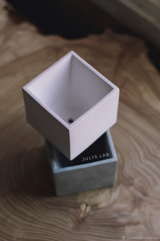 Бетонный горшок кашпо Куб белый, Кашпо, Санкт-Петербург, Фото №1