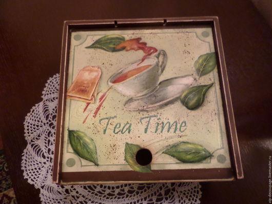 Шкатулки ручной работы. Ярмарка Мастеров - ручная работа. Купить Чайная шкатулка с объемным рисунком. Handmade. Шкатулка, объемные элементы