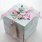 Свадебный салон ручной работы. Ярмарка Мастеров - ручная работа Коробочка для денег Magic Box ментолово-розовая. Handmade.
