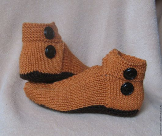 """Обувь ручной работы. Ярмарка Мастеров - ручная работа. Купить Домашние тапочки (носки) """"Пуговки"""". Handmade. Оранжевый, тапочки домашние"""