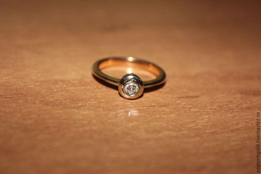 Кольца ручной работы. Ярмарка Мастеров - ручная работа. Купить Кольцо с бриллиантом. Handmade. Золотой, кольцо золотое, Бриллиант