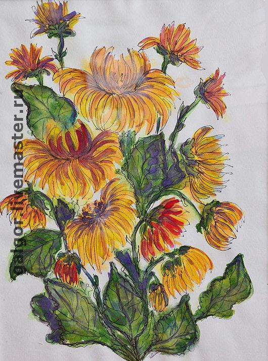 Картины цветов ручной работы. Ярмарка Мастеров - ручная работа. Купить Желтые хризантемы. Handmade. Цветы, акварель, хризантемы, букет