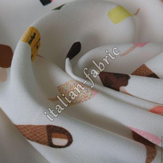 """Шитье ручной работы. Ярмарка Мастеров - ручная работа. Купить Вискоза креповая """"Мороженое"""", арт. 00290. Handmade. Ткани Италии"""