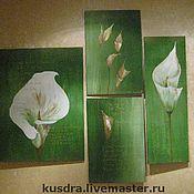 """Картины и панно ручной работы. Ярмарка Мастеров - ручная работа Картина из четырех частей """"Каллы"""". Handmade."""