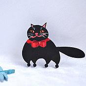 Украшения handmade. Livemaster - original item Wooden brooch plump cat icon. Handmade.