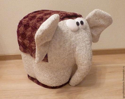 Детская ручной работы. Ярмарка Мастеров - ручная работа. Купить Пуф Слон (бордовый). Handmade. Бордовый, пуфик, подарок, белый
