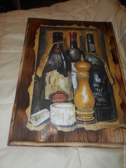 """Натюрморт ручной работы. Ярмарка Мастеров - ручная работа. Купить картина панно"""" Винный натюрморт"""". Handmade. Коричневый, доска из дерева"""