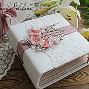 Photo albums handmade. Livemaster - original item Wedding album-Spring tenderness gift white pink. Handmade.