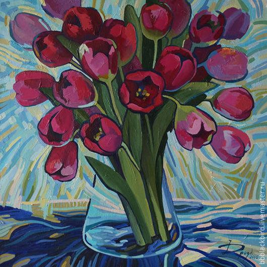Картины цветов ручной работы. Ярмарка Мастеров - ручная работа. Купить Безмолвные тюльпаны. Handmade. Картина в подарок, картина для интерьера