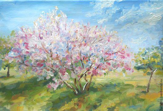Пейзаж ручной работы. Ярмарка Мастеров - ручная работа. Купить Картина Эскиз. Цветение яблонь.... Handmade. Розовый, яблони цветут