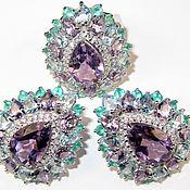 Серьги кольцо аметист топаз голубой агат серебро