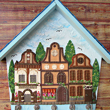 For home and interior handmade. Livemaster - original item The Housekeeper Is A Summer City.The housekeeper wall.Decor with polymer clay.. Handmade.