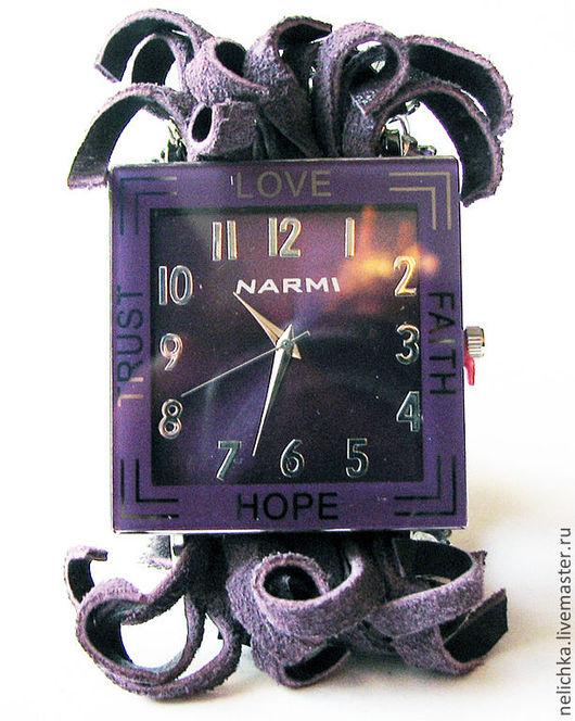 Часы ручной работы. Ярмарка Мастеров - ручная работа. Купить Часы-браслет Фиолет. Handmade. Тёмно-фиолетовый, подарок женщине